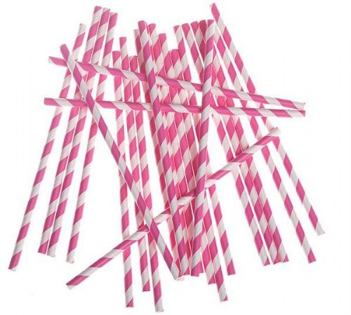 Party Drinking Straws BBQ Birthday Wedding Paper Striped Chef Food Outdoor Cook